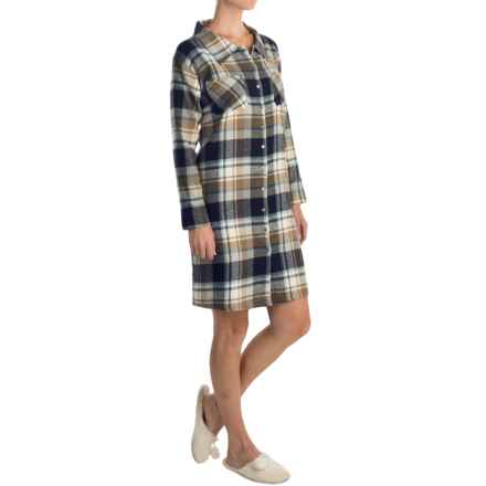 Nina Capri Flannel Button Nightshirt - Long Sleeve (For Women) in Navy Assorted - Closeouts