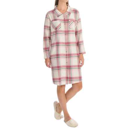 Nina Capri Flannel Button Nightshirt - Long Sleeve (For Women) in Red Assorted - Closeouts