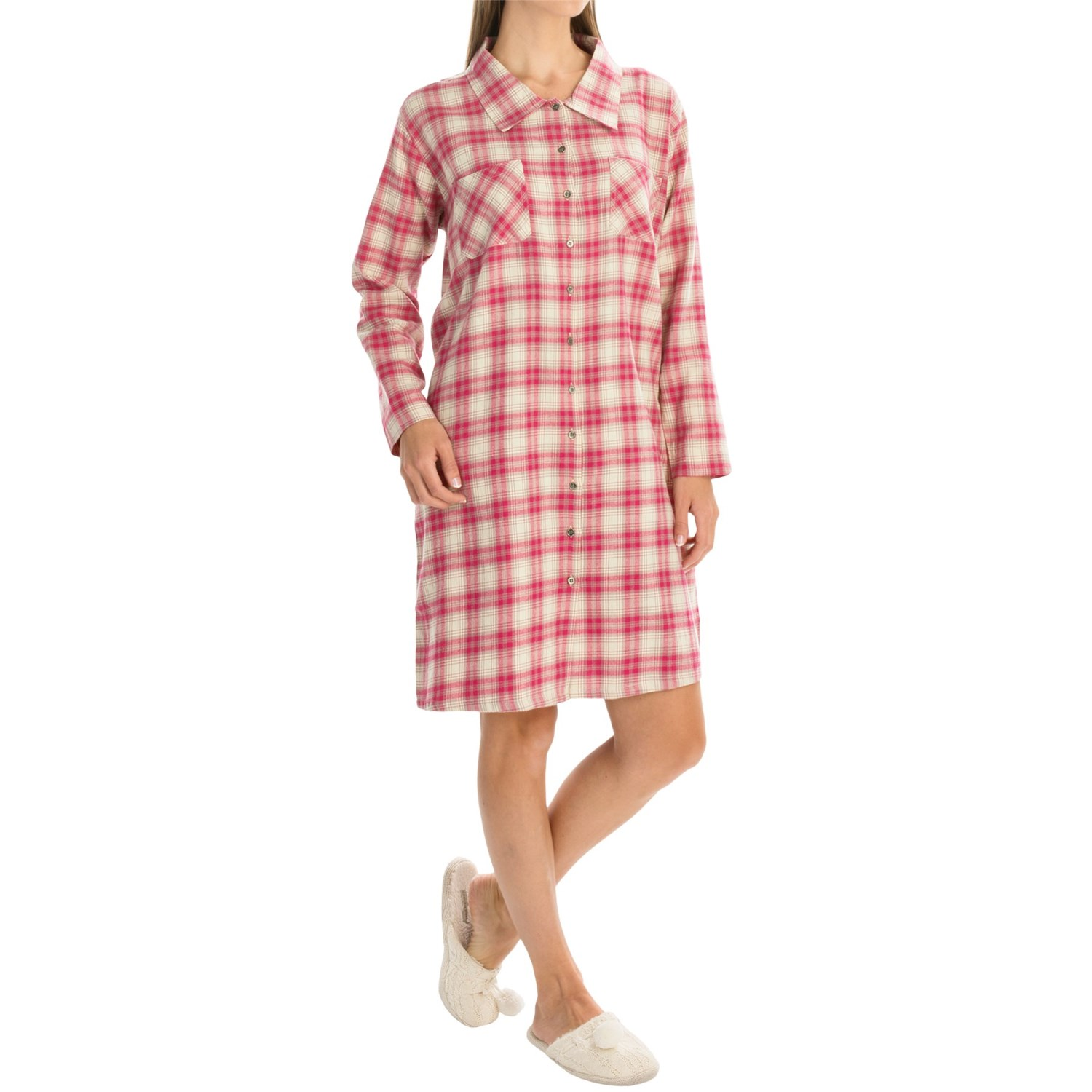 Nina capri flannel button nightshirt for women save 61 for Womens flannel night shirts