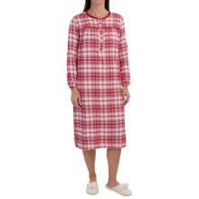 Nina Capri Flannel Nightshirt - Cotton, Long Sleeve (For Women) in Jester Red - Closeouts