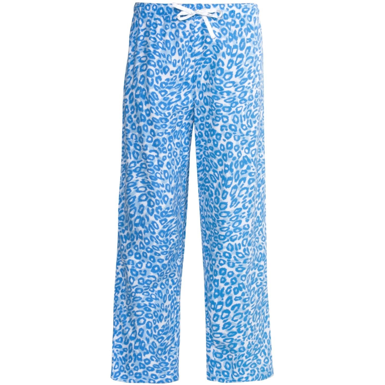 Nina Capri Flannel Print Lounge Pants (For Women) in Blue Leopard