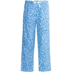 Nina Capri Flannel Print Lounge Pants (For Women) in Pink/Bubbles/Snowmen