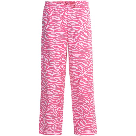 Nina Capri Flannel Print Lounge Pants (For Women) in Pink Tiger