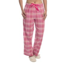 Nina Capri Flannel Print Lounge Pants - Lightweight (For Women) in Pink/Orange Plaid - Closeouts