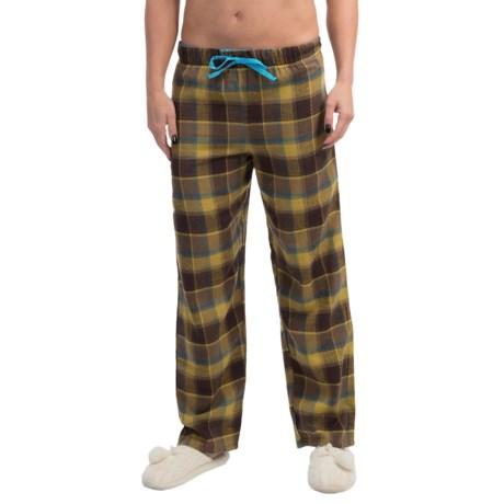 Nina Capri Flannel Print Lounge Pants - Lightweight (For Women) in Yellow/Brown Plaid