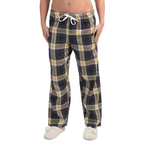 Nina Capri Flannel Print Lounge Pants - Lightweight (For Women) in Yellow/Dark Grey Plaid