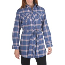 Nina Capri Flannel Tunic Shirt - Removable Belt, Long Sleeve (For Women) in Purple Plaid - Closeouts