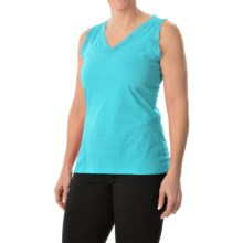 Nina Capri Lace Trim Tank Top - V-Neck (For Women) in Aqua - Closeouts