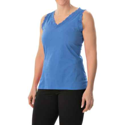 Nina Capri Lace Trim Tank Top - V-Neck (For Women) in Blue - Closeouts