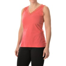 Nina Capri Lace Trim Tank Top - V-Neck (For Women) in Coral - Closeouts