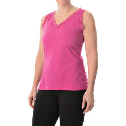 Nina Capri Lace Trim Tank Top - V-Neck (For Women) in Fuchsia - Closeouts
