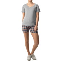 Nina Capri Pajamas (For Women) in Grey W/Purple/Yellow Plaid - Closeouts