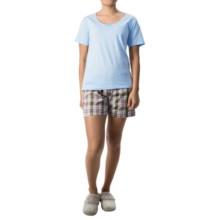 Nina Capri Pajamas (For Women) in Light Blue W/ Brown/Purple Plaid - Closeouts