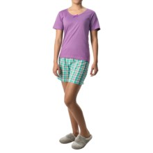Nina Capri Pajamas (For Women) in Light Purple W/Teal Plaid - Closeouts