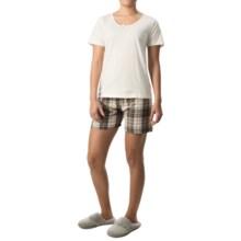 Nina Capri Pajamas (For Women) in White W/ Dark Green/White Plaid - Closeouts