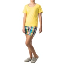 Nina Capri Pajamas (For Women) in Yellow W/ Multi Plaid - Closeouts