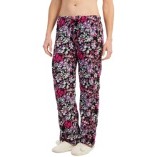 Nina Capri Polar Fleece Lounge Pants (For Women) in Black/Pink Purple Flowers - Closeouts