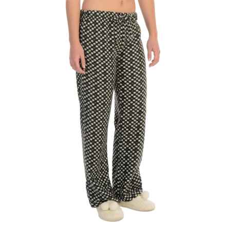 Nina Capri Polar Fleece Lounge Pants (For Women) in Black W/White/Green Dots - Closeouts