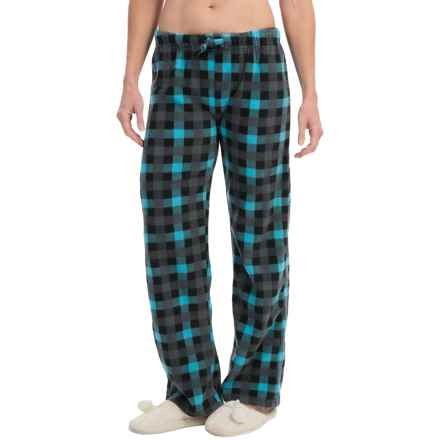 Nina Capri Polar Fleece Lounge Pants (For Women) in Blue Black Grey Check - Closeouts