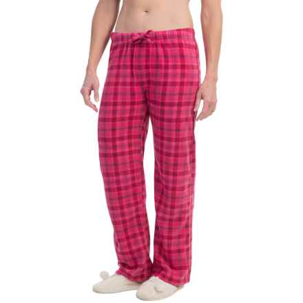 Nina Capri Polar Fleece Lounge Pants (For Women) in Fuschia Plaid - Closeouts