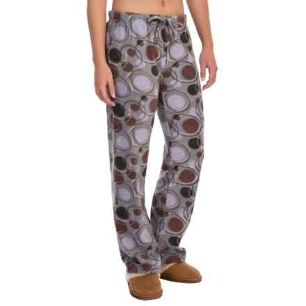 Nina Capri Polar Fleece Lounge Pants (For Women) in Lavendor/Maroon/Black Circle - Closeouts