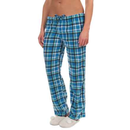 Nina Capri Polar Fleece Lounge Pants (For Women) in Light Blue Plaid - Closeouts