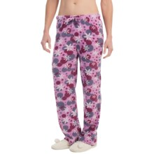 Nina Capri Polar Fleece Lounge Pants (For Women) in Pink Grey Dot White Flower - Closeouts