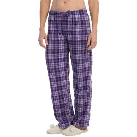 Nina Capri Polar Fleece Lounge Pants (For Women) in Purple Plaid - Closeouts