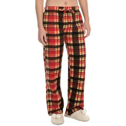 Nina Capri Polar Fleece Lounge Pants (For Women) in Red Plaid - Closeouts