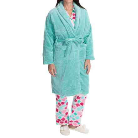 Nina Capri Softy Fleece Robe - Long Sleeve (For Women) in Aqua Dot - Closeouts