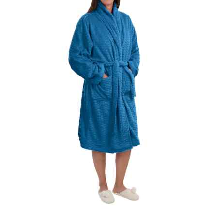 Nina Capri Softy Fleece Robe - Long Sleeve (For Women) in Blue - Closeouts