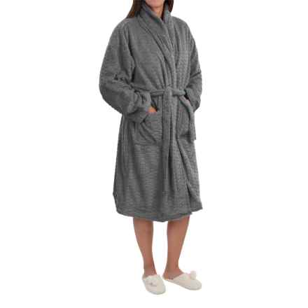 Nina Capri Softy Fleece Robe - Long Sleeve (For Women) in Charcoal - Closeouts
