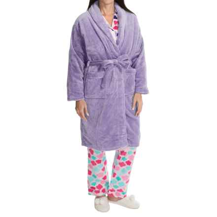 Nina Capri Softy Fleece Robe - Long Sleeve (For Women) in Lavendar Dot - Closeouts