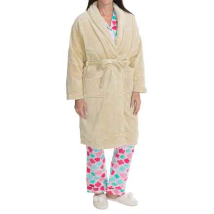 Nina Capri Softy Fleece Robe - Long Sleeve (For Women) in White Dot - Closeouts