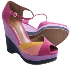 Nina Shari Platform Sandals - Nubuck, Wedge, Peep Toe (For Women) in Black