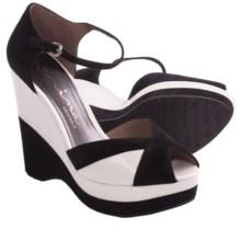 Nina Shari Platform Sandals - Nubuck, Wedge, Peep Toe (For Women) in Black - Closeouts