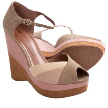 Nina Shari Platform Sandals - Nubuck, Wedge, Peep Toe (For Women) in Khaki - Closeouts