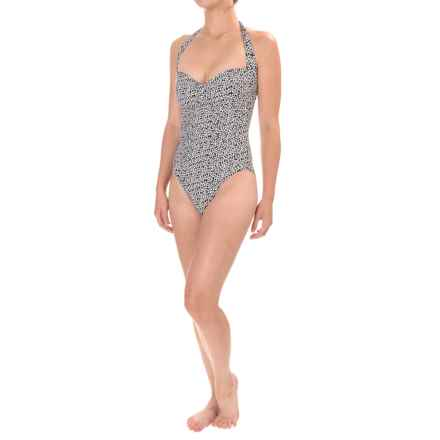 Nip Tuck Betty Summer Daisy Halter Swimsuit - Removable Padded Cups (For Women) in Black - Closeouts