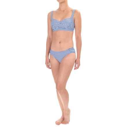 Nip Tuck Joanne Sorrento Stripe Twist Bikini Set - Padded Cups (For Women) in Azure - Closeouts