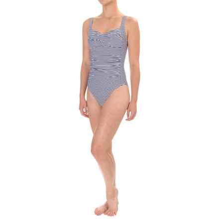 Nip Tuck Joanne Sorrento Stripe Twist-Front Swimsuit - Padded Cups (For Women) in Navy - Closeouts