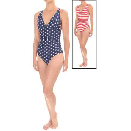 Nip Tuck Lola Stars and Stripes Reversible Swimsuit - Padded Cups (For Women) in Red/Blue - Closeouts