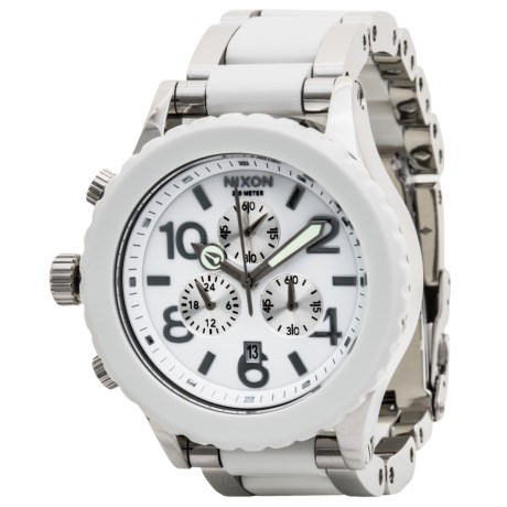 Nixon 42-20 Chronograph Watch - Stainless Steel Band (For Men and Women) in High Polish/White Acetate