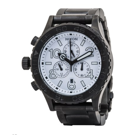 Nixon 42-20 Chronograph Watch - Stainless Steel Band (For Men and Women) in White/Gunmetal