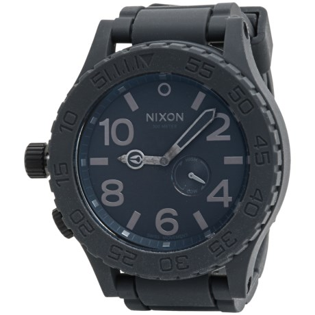 Nixon 51-30 Chronograph Watch - Rubber Strap (For Men and Women) in Gray/Black