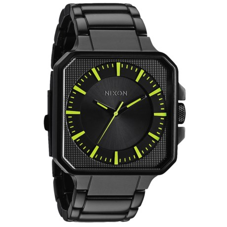 Nixon Platform Watch - Stainless Steel Band (For Men and Women) in All Black/Luminate