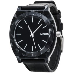 Nixon Time Teller Acetate Watch - Leather Band (For Men) in Grey/Grey