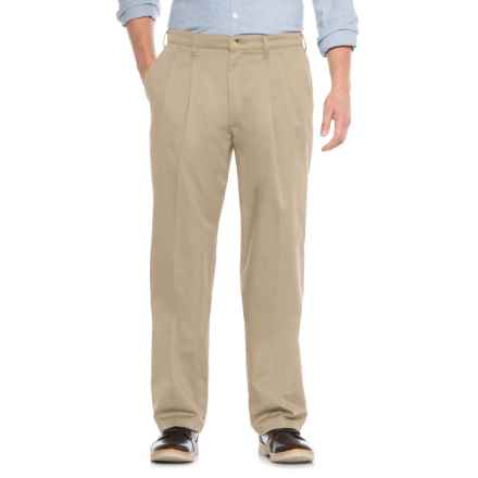 No-Iron Cotton Twill Pants - Pleated Front (For Men) in Stone - Closeouts