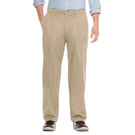 No-Iron Cotton Twill Pants - Pleated Front (For Men)
