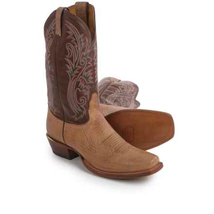 "Nocona 12"" Delta Cowboy Boots - Leather, Square Toe (For Men) in Tan - Closeouts"