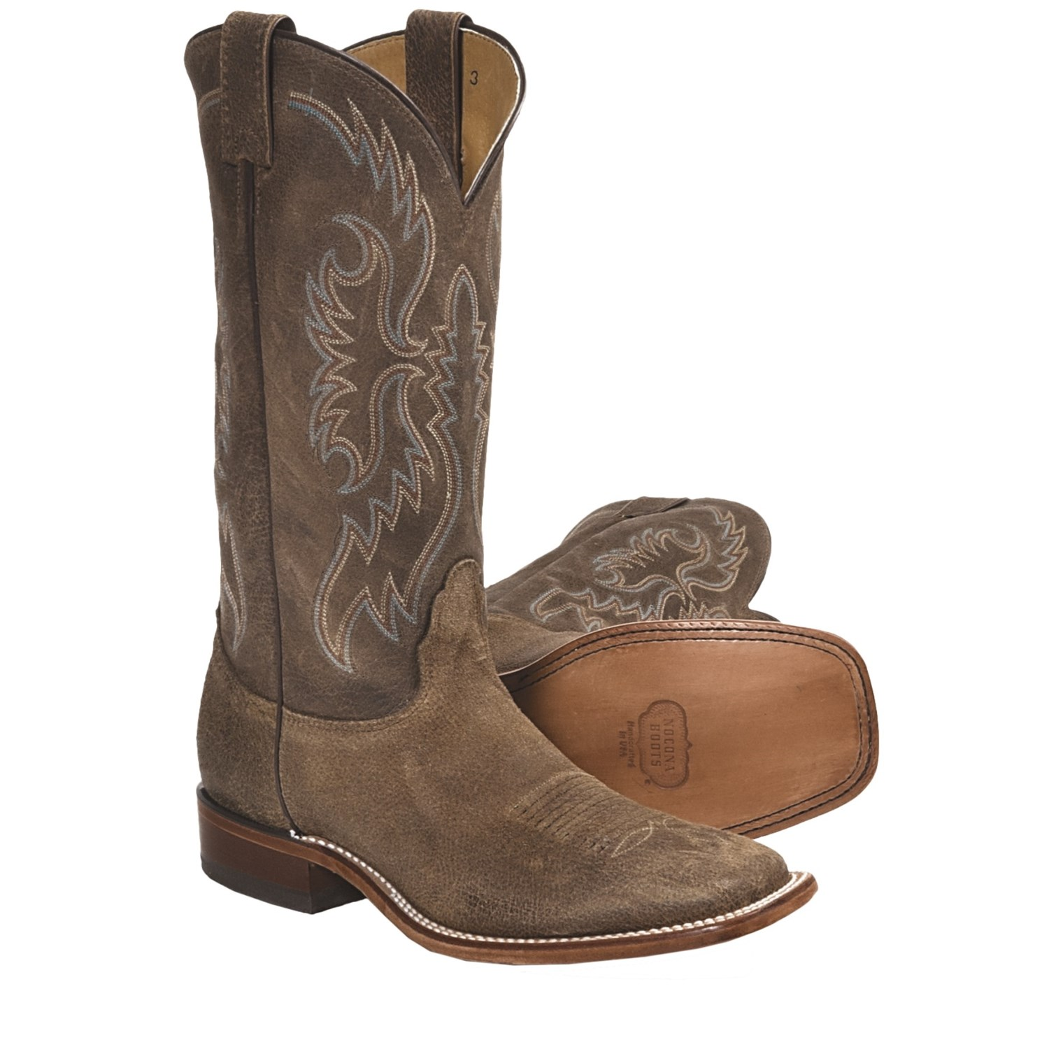 Cowhide Cowboy Boots - Square Toe, Walking Heel (For Men) in Brown